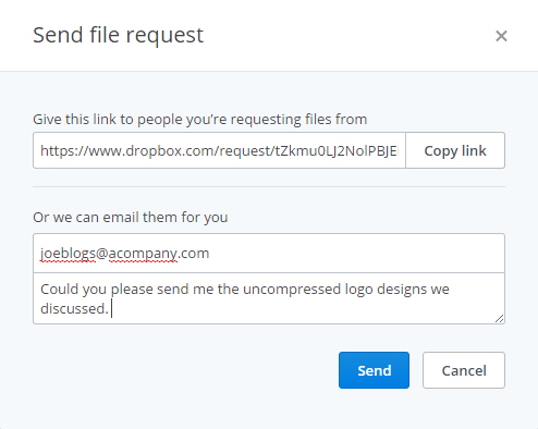 how to send file request with dropbpx