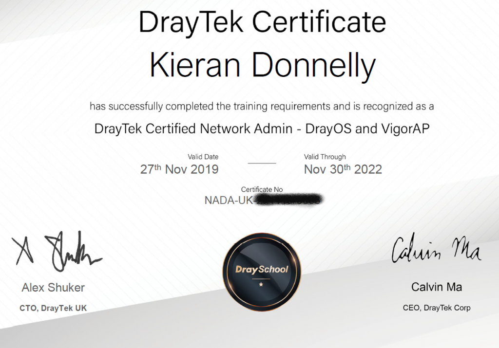 Draytek DreyOS Certificate